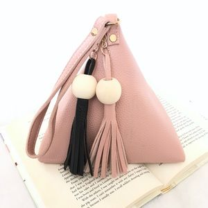 Handbags - Pink Triangle Tassel Bead Clutch Wristlet Purse